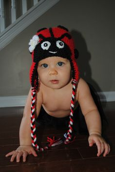 Crochet ladybug hat Made to order from newborn by PSiLoveHaTs