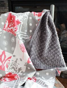 Patchwork Baby Blanket Modern Baby Quilt Coral by GiggleSixBaby
