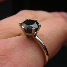 Shoply.com -2.5ct natural black diamond engagement ring in 18kt white gold