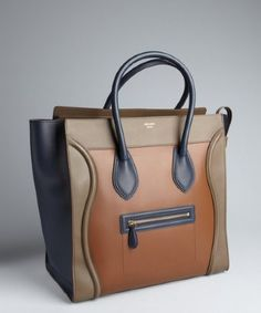 Celine: camel colorblock calfskin 'Luggage' shopper