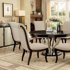 Furniture of America CM3353RT CM3353SC Ornette 7 Pieces Contemporary Espresso Silver Finish Round Dining Table Set