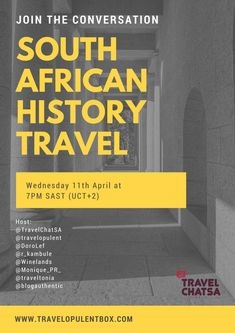 Don't forget to join us tonight - Topic: South African History Travel.  Join us on Twitter at 7pm follow #TravelChatSA Hashtag ro join the conversation. http://www.travelopulentbox.com/…/south-african-history-tr…/