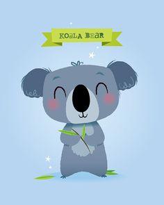 Baby Ilustration Nursery Art Print, Koala Print, Modern Illustration, Art for Kids, K . Nursery Prints, Nursery Wall Art, Nursery Decor, Tatty Teddy, Baby Room Art, Baby Drawing, Dibujos Cute, Cute Illustration, Illustration Animals