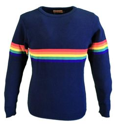 RUN /& FLY RETRO VINTAGE 90/'S STYLE NAVY CROPPED RAINBOW JUMPER