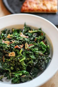 Side Dish Recipe for Pizza:  Fiery Kale with Garlic and Olive Oil   Pick a Side! from Tara Mataraza Desmond