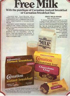 Carnation instant breakfast bars were my favorite Retro Ads, Vintage Advertisements, Vintage Ads, Vintage Food, Vintage Stuff, Vintage Items, Breakfast Bars, Breakfast Time, Retro Recipes
