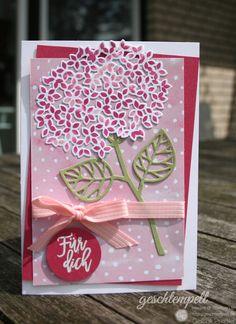 Eine Hortensie in Rosenrot und Kirschblüte