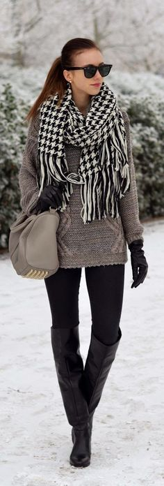 Grey Winter Coat and Black and White Scarf Bag and Ray Ban Glasses Winter Combination