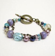 Blue & purple bracelet set by beadstreetgallery on Etsy