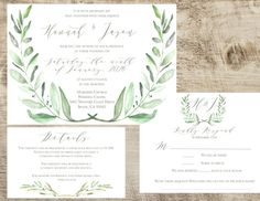 Olive Wedding Invitation Suite, Spring, Summer Leaf Hand painted Watercolor Rustic Green, Printed Sample