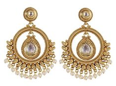 dd54b95da South Indian Fashion Gold Tone Kundan Crystal Stone Indian Earring Jewelry  For Women
