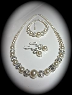 Bridal Jewelry - Pearl set - Sterling Silver - Crystal Set - Pearl Bracelet -Earrings- Necklace - Brides Jewelry set- Ivory/cream - on Etsy, $99.00