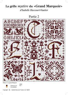 Cross stitch / Point de croix / Punto cruz / Punto croce - alphabet / abécédaire / abecedario / alfabeto - chart / grille / scheme - Grand Marquoir d'Isabelle Vautier - part 2 of 6