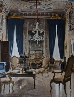 Art Interiors, Vintage Interiors, Venice Italy, Building, Victor Edelstein,  Mansions, French Cottage, Affordable Art, Antique Furniture
