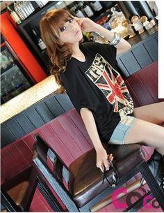 Black Loose Fit Korean Fashion T-Shirt With Union Jack British Flag Print