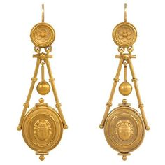 Antique Gold Etruscan Revival Earrings with Scarabs | From a unique collection of vintage dangle earrings at https://www.1stdibs.com/jewelry/earrings/dangle-earrings/