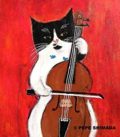 cello cat and happy bluebird by pepe shimada