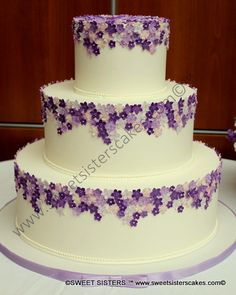 Perfect for a spring wedding with a lavender theme. #desserts #cakes #weddingcake #wedding #bride #lavender #flowers #SweetSisters