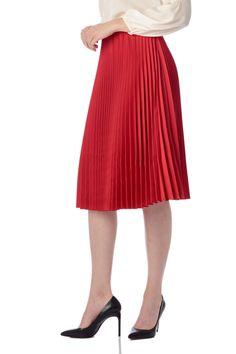 Fusta rosie plisata, eleganta si fina, potrivita pentru o petrecere cocktail. Midi Skirt, Skirts, Fashion, Moda, Fashion Styles, Midi Skirts, Skirt, Fasion