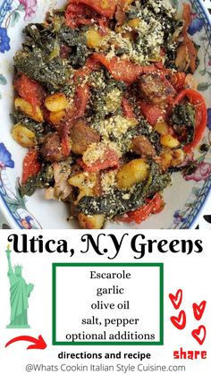 Italian Utica Greens Recipe | What's Cookin' Italian Style Cuisine Chef Recipes, Copycat Recipes, Italian Recipes, Great Recipes, Utica Greens, Escarole Recipes, Fried Fish Recipes, Facebook Support, Good Food