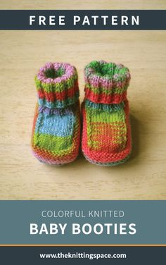 colorful knitted baby booties : Looking for a scrap yarn knitting project? colorful knitted baby booties : Looking for a scrap yarn knitting project? Try your hands on this Small Knitting Projects, Knitting For Kids, Easy Knitting, Knitting Socks, Baby Booties Knitting Pattern, Knit Baby Booties, Baby Knitting Patterns, Knit Baby Shoes, Knitting Ideas