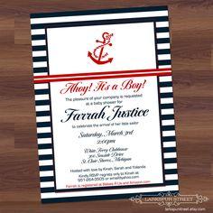 Baby Boy Shower Invitation - Anchors Away - Navy Blue & Red - Nautical - Sailor - Ships Ahoy DIY Digital Printable