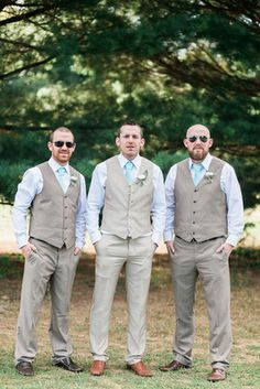 Gray + blue groom and groomsmen out fit idea - light gray suits + vests and Tiffany blue ties {Monica Mendoza Photography}
