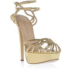CHARLOTTE OLYMPIA Ursula Heels found on Polyvore. Now this metallic gold shoe I like.