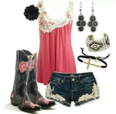 """""""Cute country outfits minus the boots"""" Country Girl Outfits, Sexy Cowgirl Outfits, Country Fashion, Country Girls, Cute Outfits, Country Style, Cowgirl Clothing, Cowgirl Fashion, Cowgirl Jewelry"""