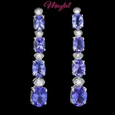 $3400 CERTIFIED 14K WHITE GOLD 5CT TANZANITE 0.35CT DIAMOND EARRINGS #Dangle