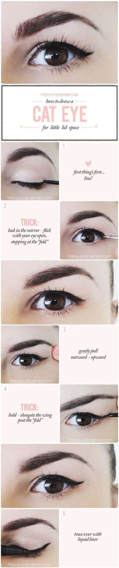 A cat eye is probably the biggest struggle for small-lidded ladies, but here's a quick and easy trick. | 13 Life-Changing Makeup Tips For Hooded Eyes