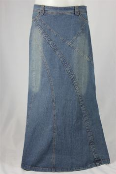 Natalie Vintage Long Jean Skirt, Sizes 6-18: theskirtoutlet.com