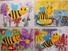 Картина панно рисунок Аппликация Рисование и живопись Пчёлки Акварель Бумага Карандаш фото 1