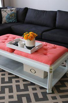 I was so excited when I first saw this coffee table that I had to have it. It had a perfect size and shape, plus it was affordable enough to re-finish and upholster.