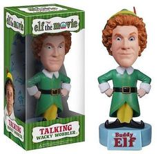 """Talking Buddy The Elf Bobber From Will Ferrell's Hit Movie! Wobble his head, and vinyl bobber speaks 5 phrases from the hilarious movie that's quickly becoming a holiday classic! Includes replaceable button batteries. 8"""" tall. WARNING: Choking hazard, small parts. Not intended for children under 5."""