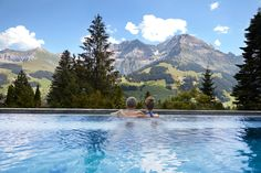 Solebad Outside Pool Adelboden, Hotel Bellevue, Bio Sauna, Outside Pool, Outdoor Pool, Outdoor Decor, Spa Day, Dream Vacations, Places To Travel