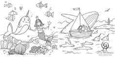 Coloring Books and Calendars on Amazon - Olya Yatsenko Coloring Book Art, Mandala Coloring, Unicorn Wall, Sea Creatures, Calendar, Mermaid, Presents, Amazon, Store