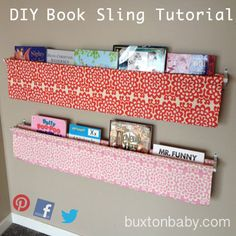 Our awesome sling book display ideas tutorial offers an great bookshelves DIY. This wall book display is an easy tutorial for sewing a useful project.