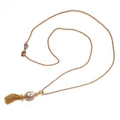 """Kasumi Style Pearl Pendant Tassel Necklace Gold Vermeil 18"""" Ball Chain Handcrafted Gemstone Jewelry, #pearl, #tassel, #gold, #pendant, #necklace, #kasumi"""