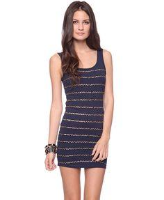 Sequin Stripes Tank Dress