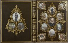 Beautiful craftmanship of bookbinding: book cover with photograph frames.