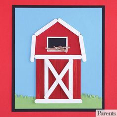 Build an iconic Midwestern barn from painted craft sticks -- it will look wonderful hanging on the kitchen fridge.                 Make It: Paint nine craft sticks red, six craft sticks white, and four mini craft sticks white. Let them dry. On a rectangle piece of cardstock, have your child create a blue sky and green grass with colored paper or markers. Then help her create the bottom of the barn by gluing on a row of 11 craft sticks vertically in the following pattern: two red, one white…