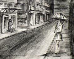 Charcoal Landscape Drawing Woman On Street by WildRunningArt, $45.00