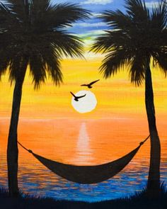 Sunset Hammock at Nuevo Acapulco Bar and Grill - Paint Nite Events near North Ca. - Sunset Hammock at Nuevo Acapulco Bar and Grill – Paint Nite Events near North Canton, OH> - Diy Art Painting, Small Canvas Art, Rock Painting Designs, Nature Art Painting, Amazing Art Painting, Oil Pastel Art, Canvas Art Painting, Sunset Painting, Diy Canvas Art