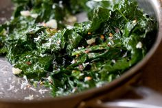Garlicky kale. 101 cookbooks. Made something like this, using some store-bought kale plus unidentified greens (brussels sprout leaves?) from our garden.