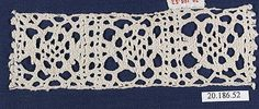 Insertion Date: 16th century Culture: Italian Medium: Bobbin lace Dimensions: 1 3/4 x 5 1/2 inches (4.4 x 14.0 cm) Classification: Textiles-Laces Credit Line: Rogers Fund, 1920 Accession Number: 20.186.52