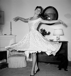 Brigitte Bardot in the 1950s wearing an A-line dress