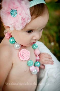 Chunky Necklace { Candy Pink } Aqua & Pink Necklace and matching headband set, Cake Smash, First Birthday necklace photography prop