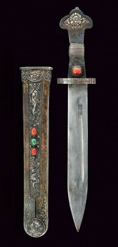 Chinese Dagger. Dated: 19th century. Chinese Weapons, Chinese Armor, Swords And Daggers, Knives And Swords, Dagger Knife, Bow Arrows, Arm Armor, Fantasy Weapons, Archaeology