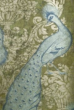 Byron Wallpaper Beautiful distressed effect green damask wallpaper with gold motif and metallic sky blue peacocks.